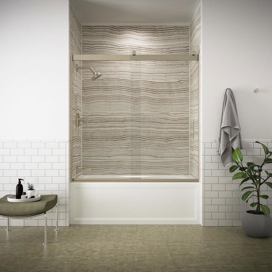 KOHLER Levity 59.625-in W x 62-in H Brushed Bronze Frameless Bathtub Door