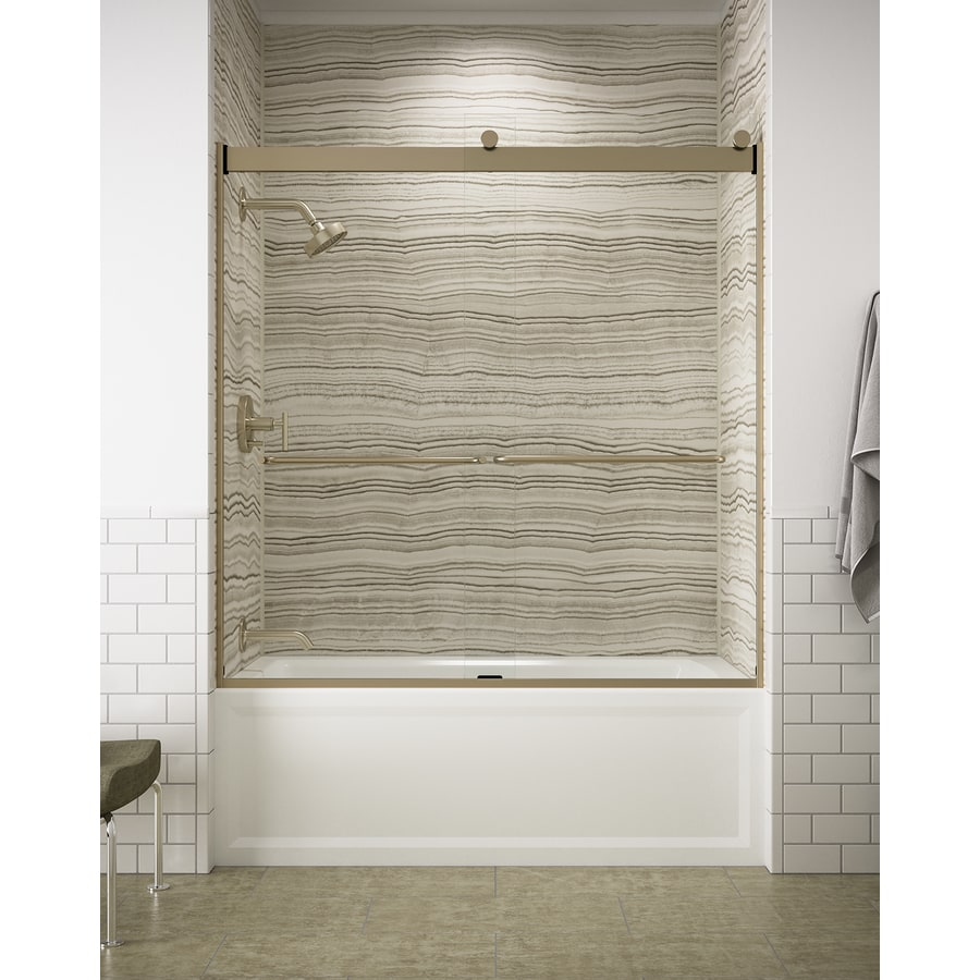 KOHLER Levity 59.625-in W x 62-in H Brushed Bronze Frameless Bathtub Door