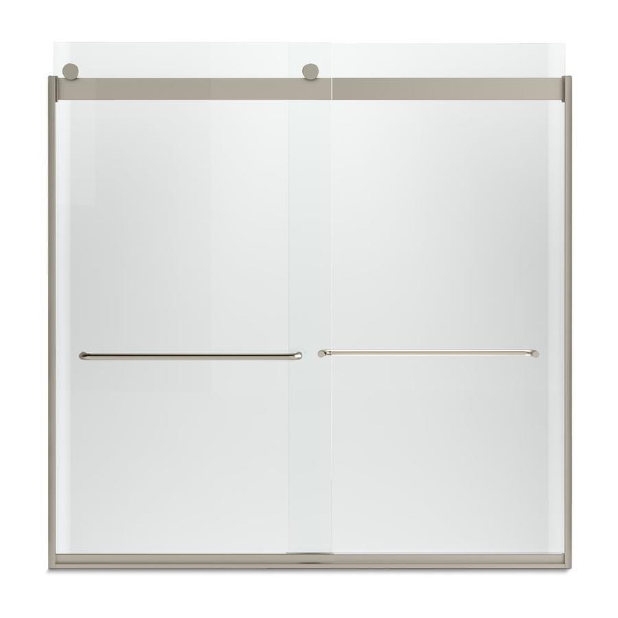KOHLER Levity 57-in W x 59.75-in H Brushed Bronze Frameless Bathtub Door