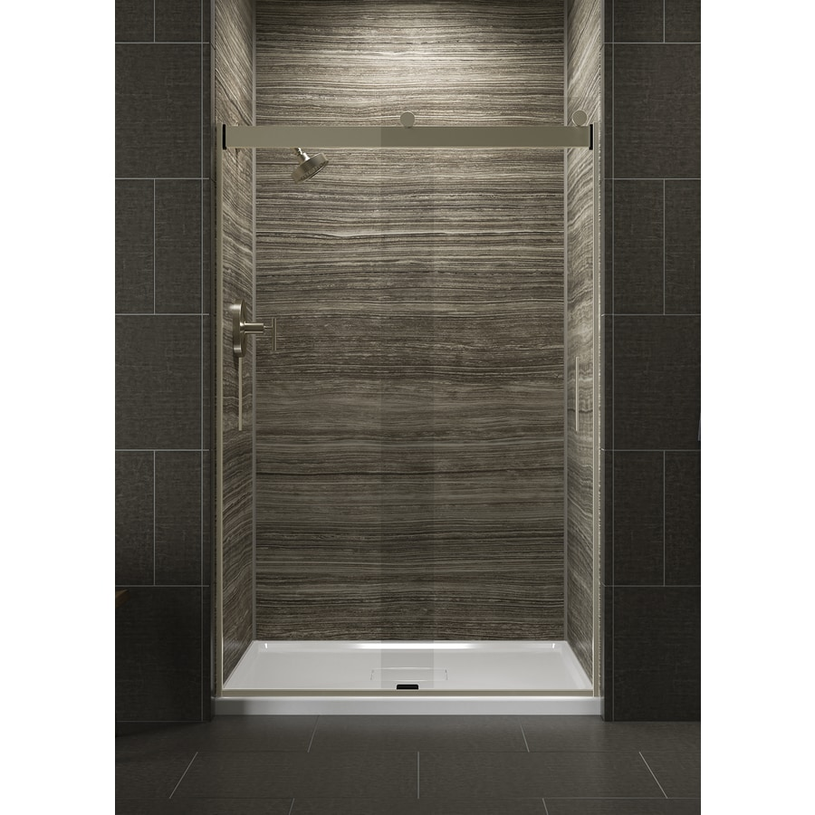 KOHLER Levity 56-in to 47.75-in Frameless Anodized Brushed Bronze Sliding Shower Door