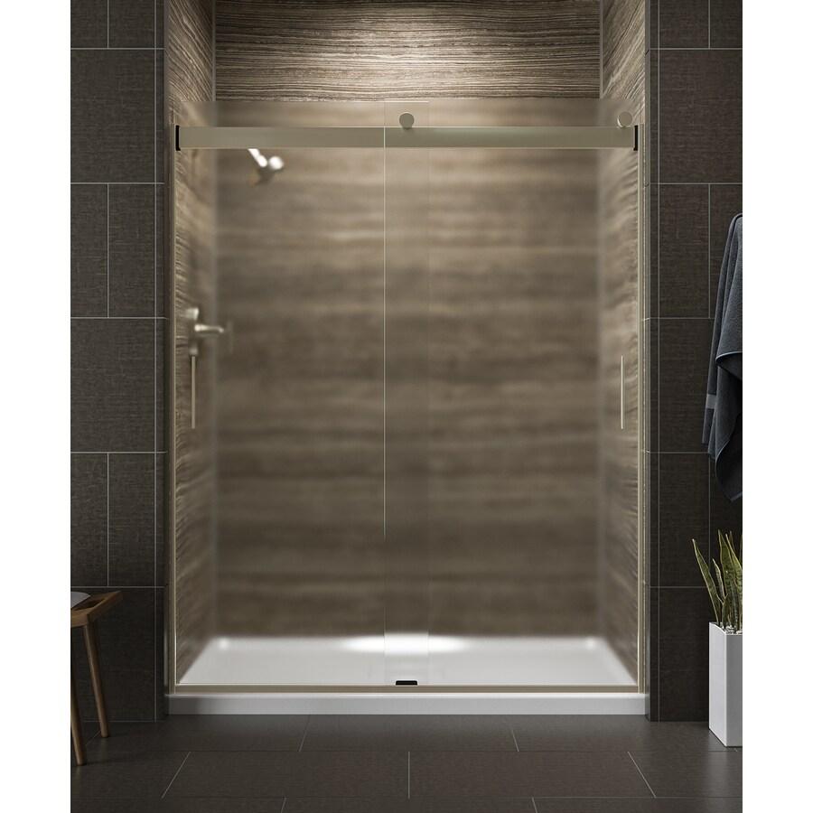 KOHLER Levity 57.25-in to 59.625-in Frameless Anodized Brushed Bronze Sliding Shower Door