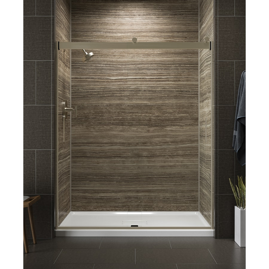 KOHLER Levity 56.625-in to 59.625-in Frameless Anodized Brushed Bronze Sliding Shower Door