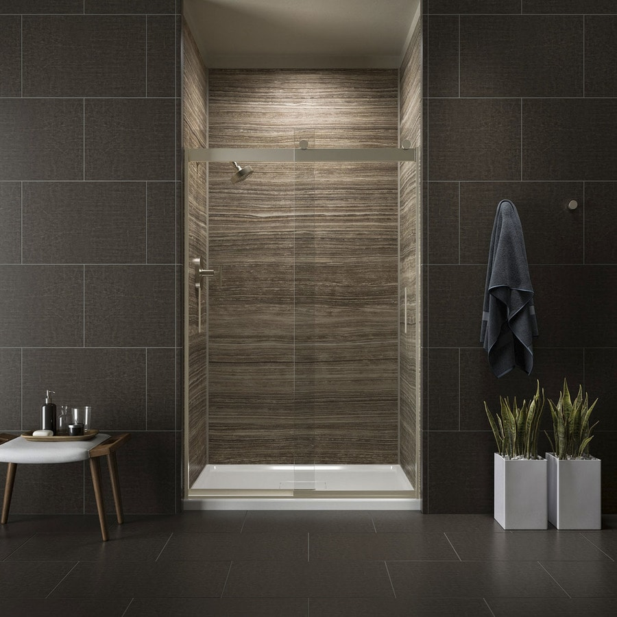 KOHLER Levity 44.625-in to 47.625-in W Frameless Anodized Brushed Bronze Sliding Shower Door
