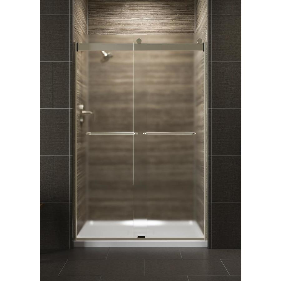 KOHLER Levity 44.625-in to 47.625-in Frameless Anodized Brushed Bronze Sliding Shower Door