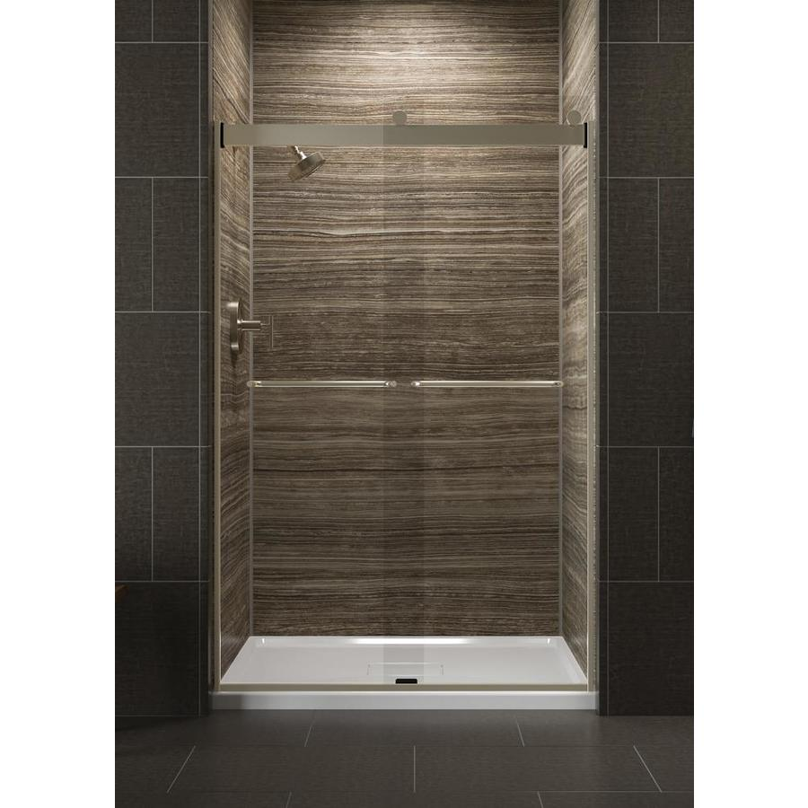 KOHLER Levity 44-in to 47-in Frameless Anodized Brushed Bronze Sliding Shower Door