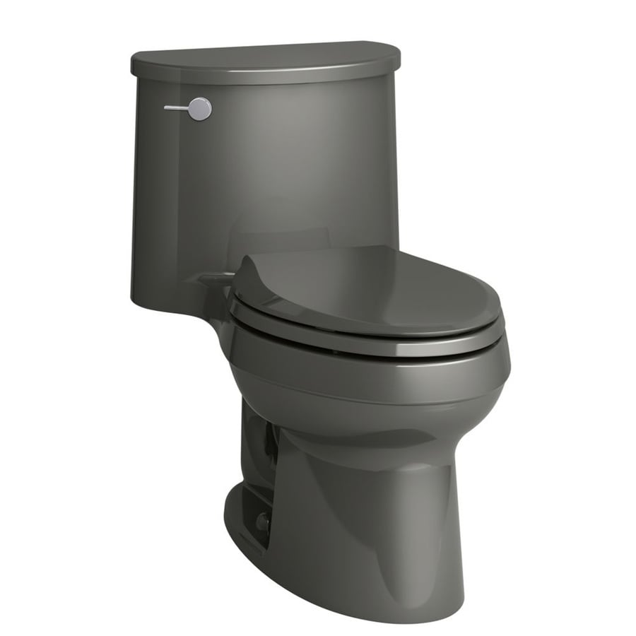 KOHLER Adair Thunder gray WaterSense Labeled  Elongated Standard Height 1-piece Toilet 12-in Rough-In Size
