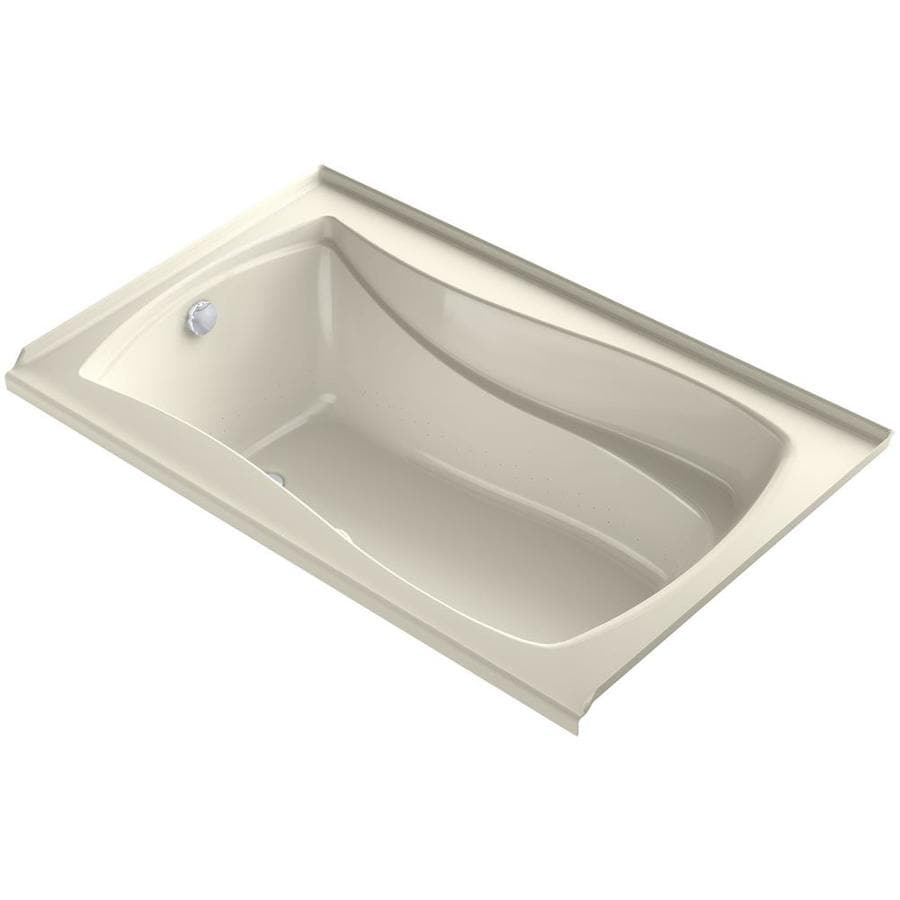KOHLER Mariposa 60-in Almond Acrylic Alcove Air Bath with Right-Hand Drain