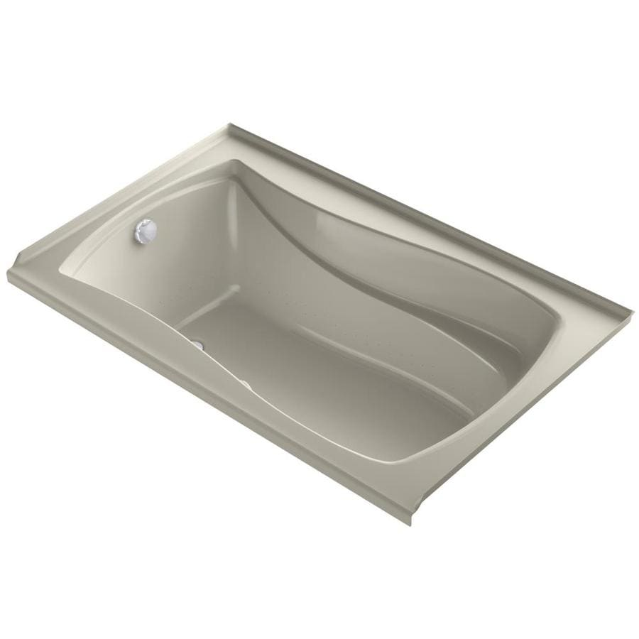 KOHLER Mariposa 60-in L x 36-in W x 21.25-in H Sandbar Acrylic Hourglass In Rectangle Drop-in Air Bath