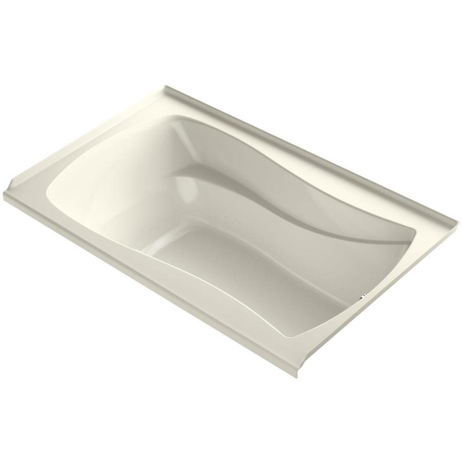 KOHLER Sunward 72-in Biscuit Acrylic Drop-In Air Bath with Reversible Drain