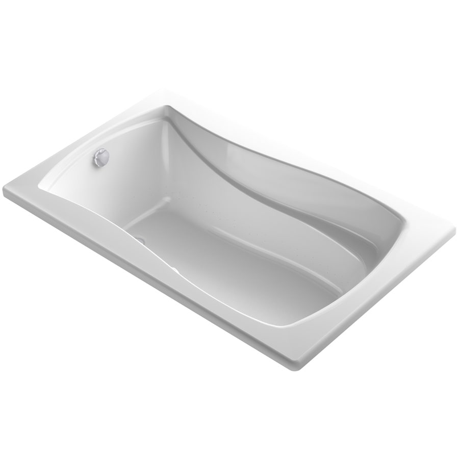 KOHLER Sunward 72-in L x 42-in W x 20-in H White Acrylic Oval Drop-in Air Bath