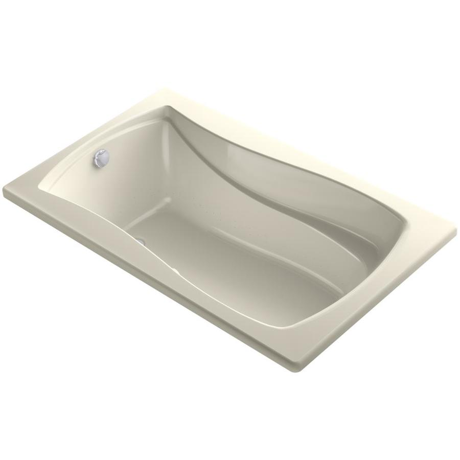 KOHLER Sunward 72-in Almond Acrylic Drop-In Air Bath with Reversible Drain
