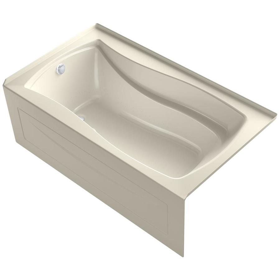 KOHLER Mariposa 66-in L x 36-in W x 21.25-in H Almond Acrylic Rectangular Drop-in Air Bath