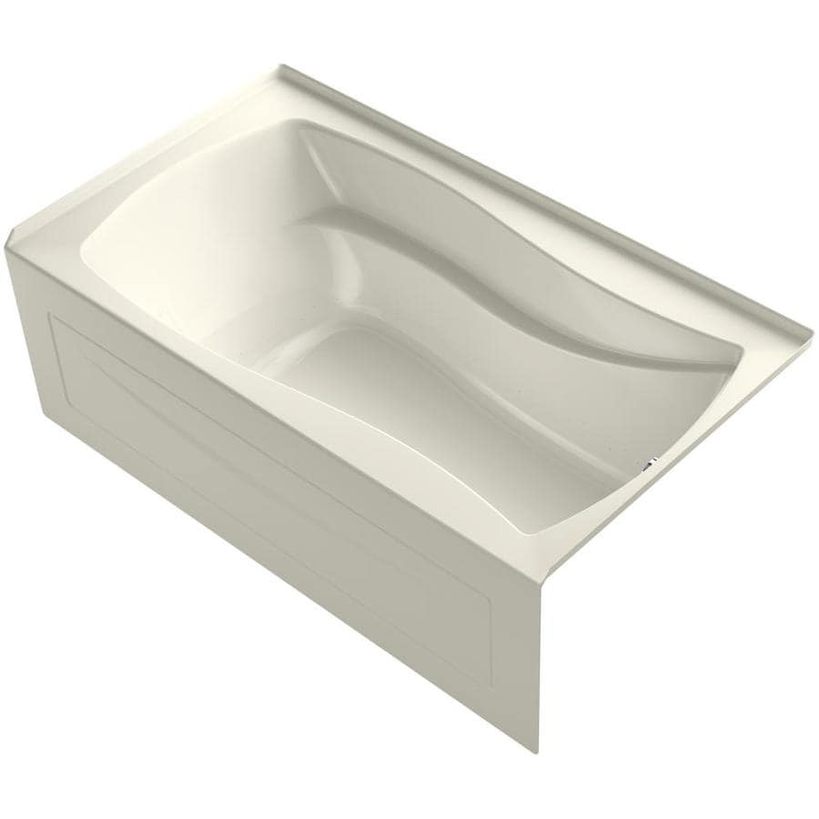 KOHLER Mariposa 66-in L x 36-in W x 21.25-in H Biscuit Acrylic Rectangular Drop-in Air Bath