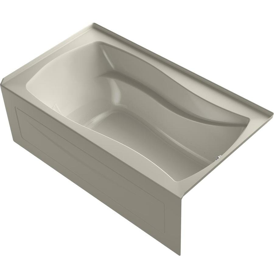 KOHLER Mariposa 66-in Sandbar Acrylic Alcove Air Bath with Left-Hand Drain