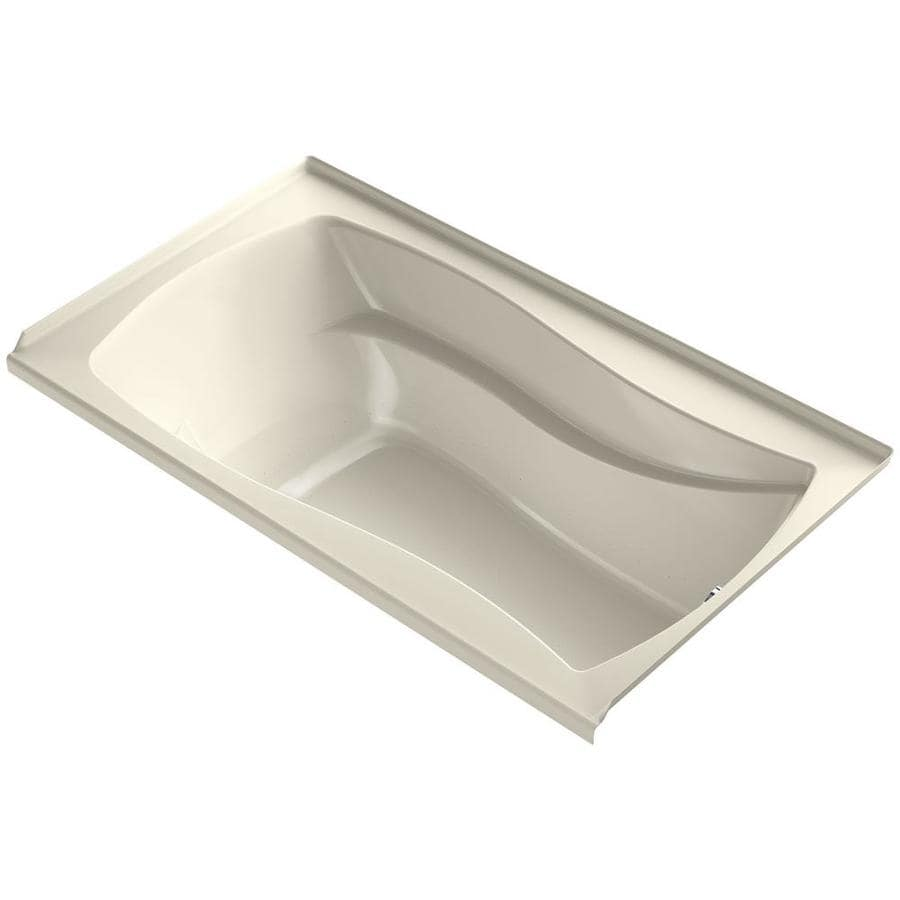 KOHLER Mariposa 66-in Almond Acrylic Alcove Air Bath with Left-Hand Drain