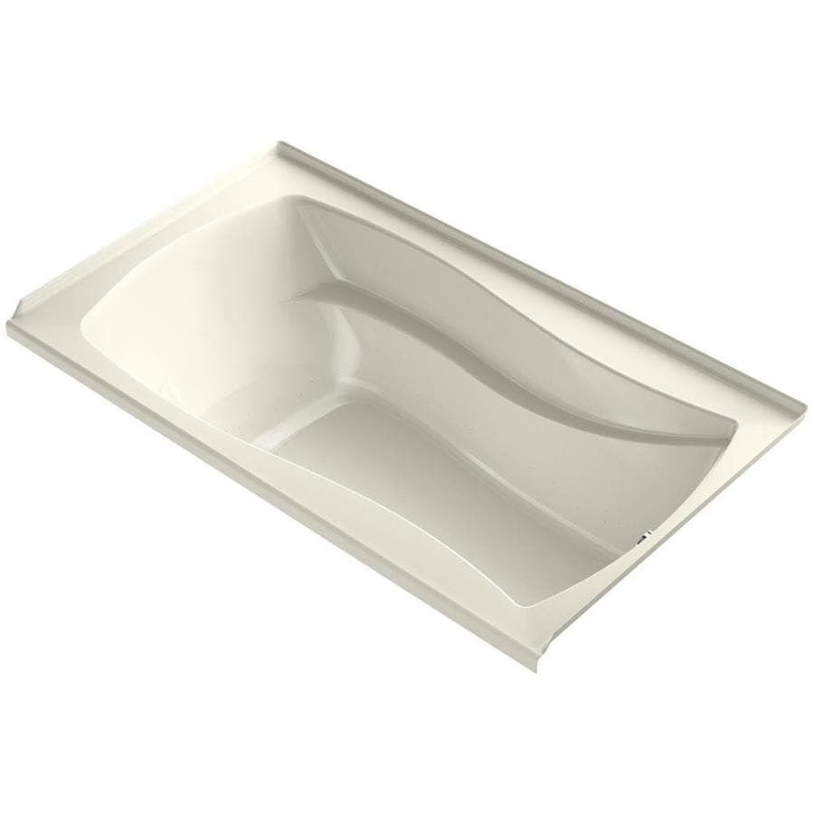 KOHLER Mariposa 66-in Biscuit Acrylic Alcove Air Bath with Left-Hand Drain