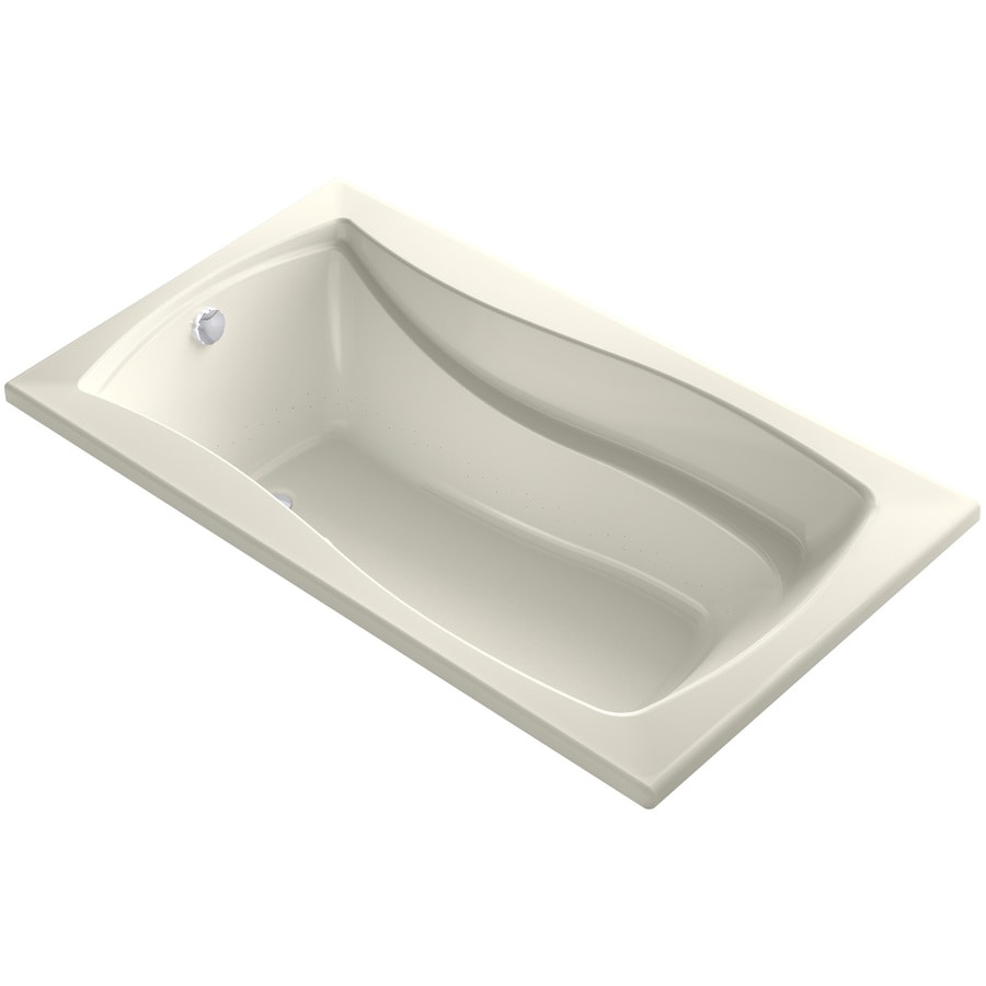 KOHLER Mariposa 66-in Biscuit Acrylic Alcove Air Bath with Reversible Drain