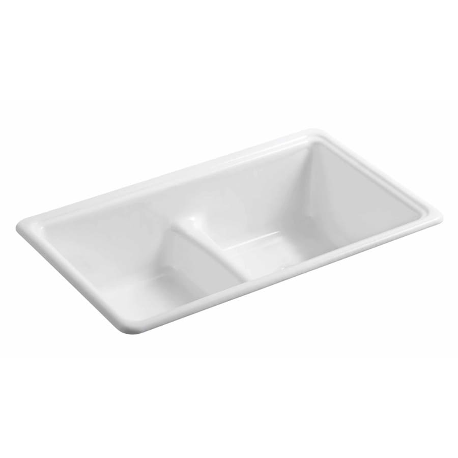 KOHLER 19.375-in x 33-in White Double-Basin Cast Iron Drop-in or Undermount Residential Kitchen Sink