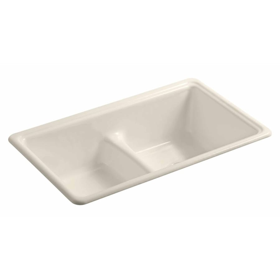 KOHLER 19.375-in x 33-in Almond Double-Basin Cast Iron Drop-in or Undermount Residential Kitchen Sink