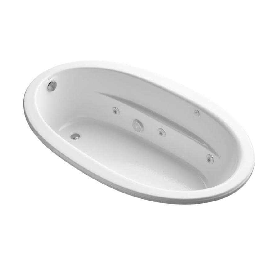 KOHLER Sunward White Acrylic Oval Whirlpool Tub (Common: 42-in x 72-in; Actual: 20-in x 42-in x 72-in)