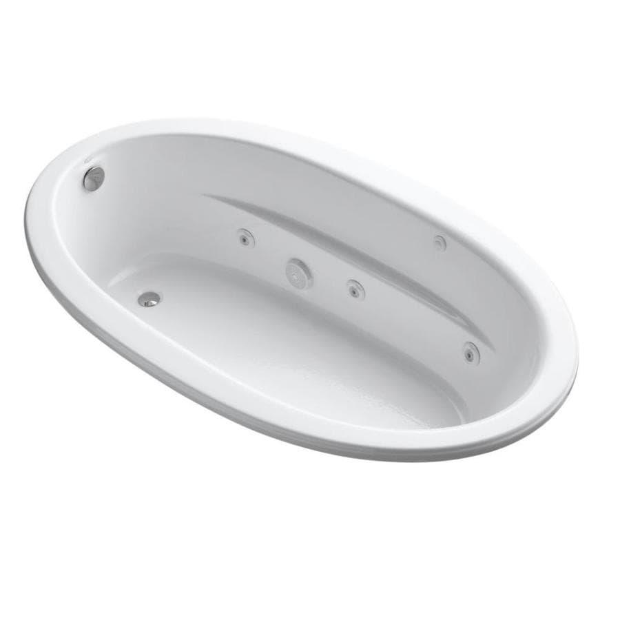 KOHLER Sunward 72-in White Acrylic Drop-In Whirlpool Tub with Reversible Drain