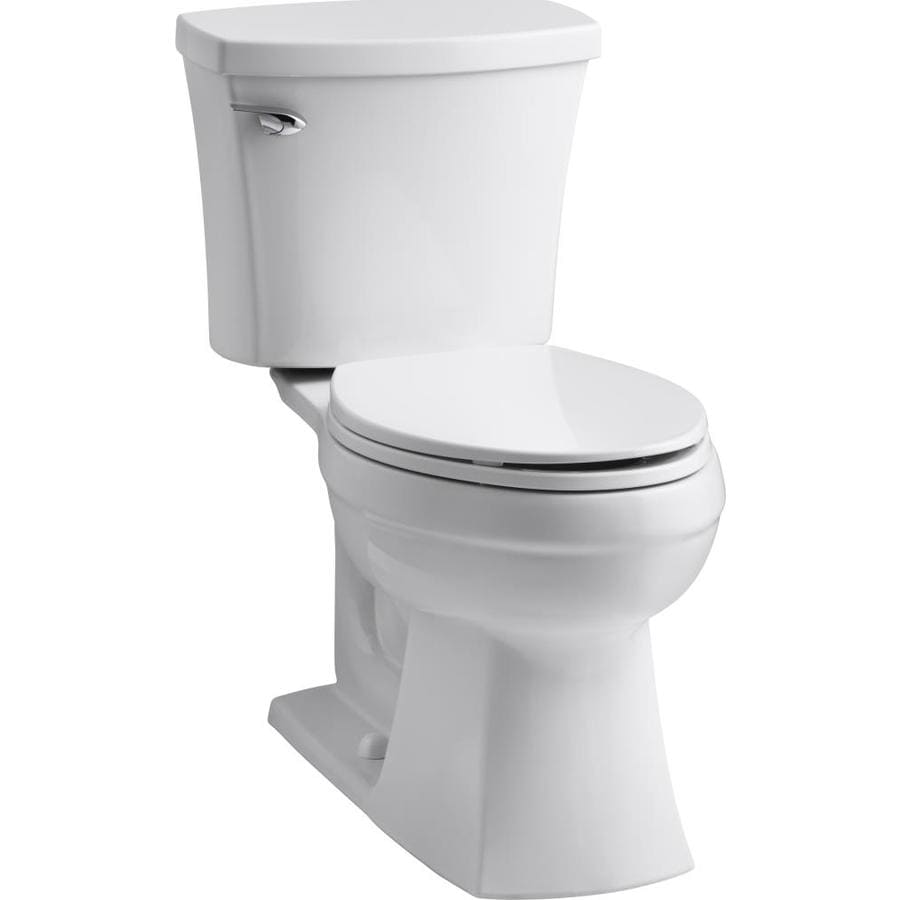 KOHLER Elliston White WaterSense Labeled  Elongated Chair Height 2-piece Toilet 12-in Rough-In Size