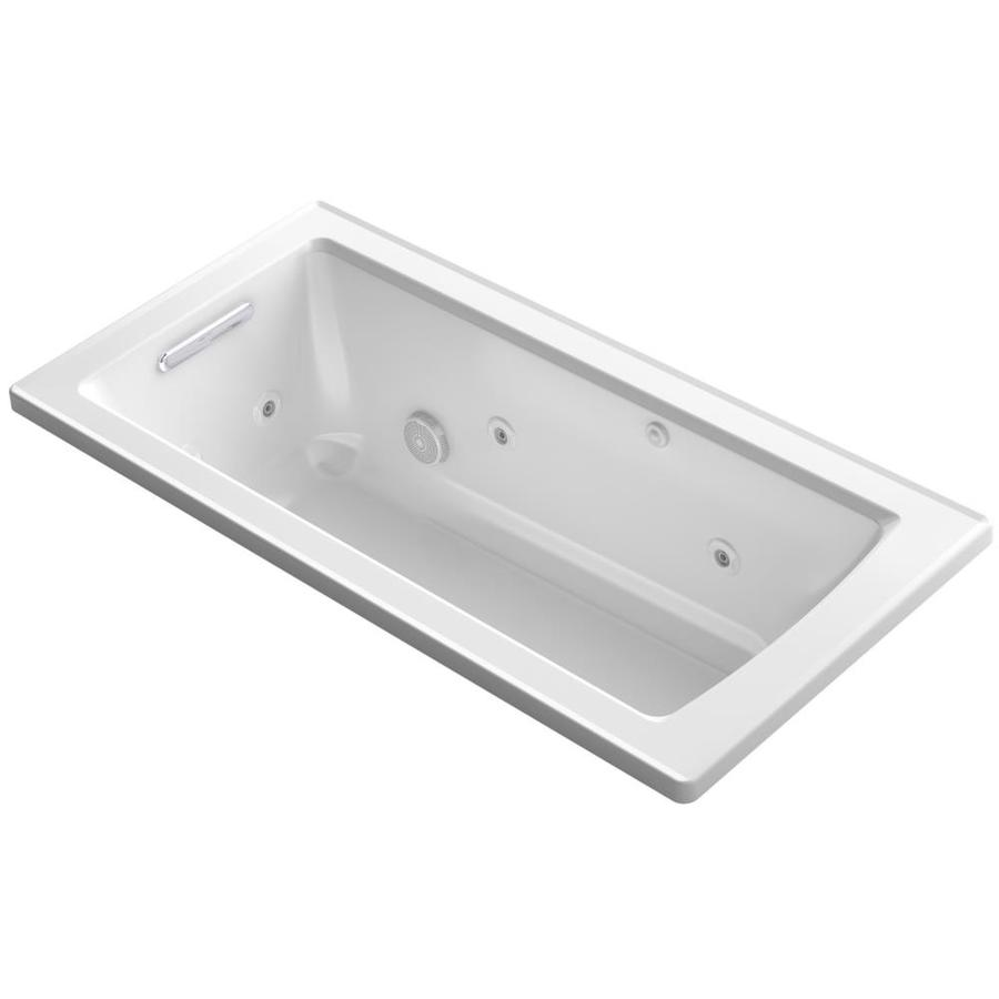 KOHLER Archer 60-in White Acrylic Drop-In Whirlpool Tub with Reversible Drain