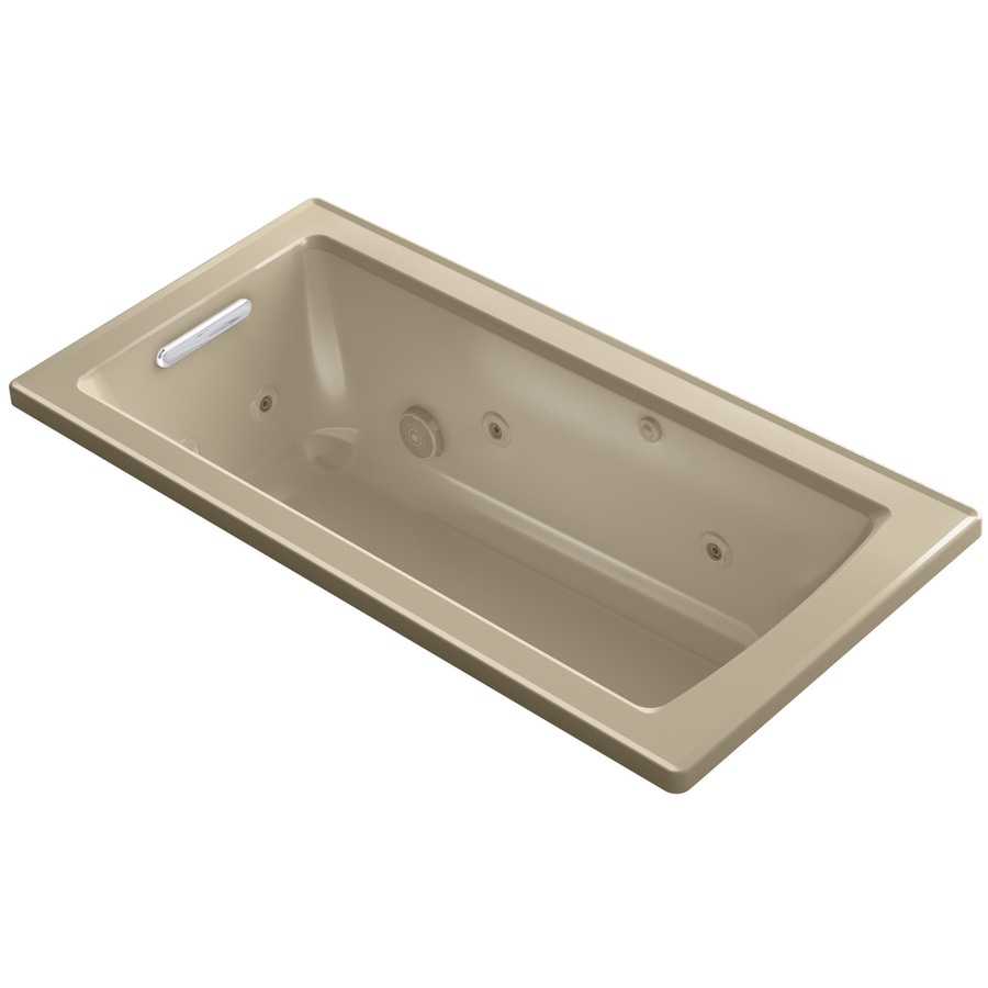 KOHLER Archer Mexican Sand Acrylic Rectangular Drop-in Whirlpool Tub (Common: 30-in x 60-in; Actual: 19-in x 30-in)