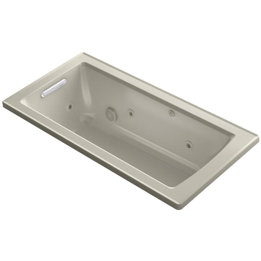 KOHLER Archer 60-in Sandbar Acrylic Drop-In Whirlpool Tub with Reversible Drain