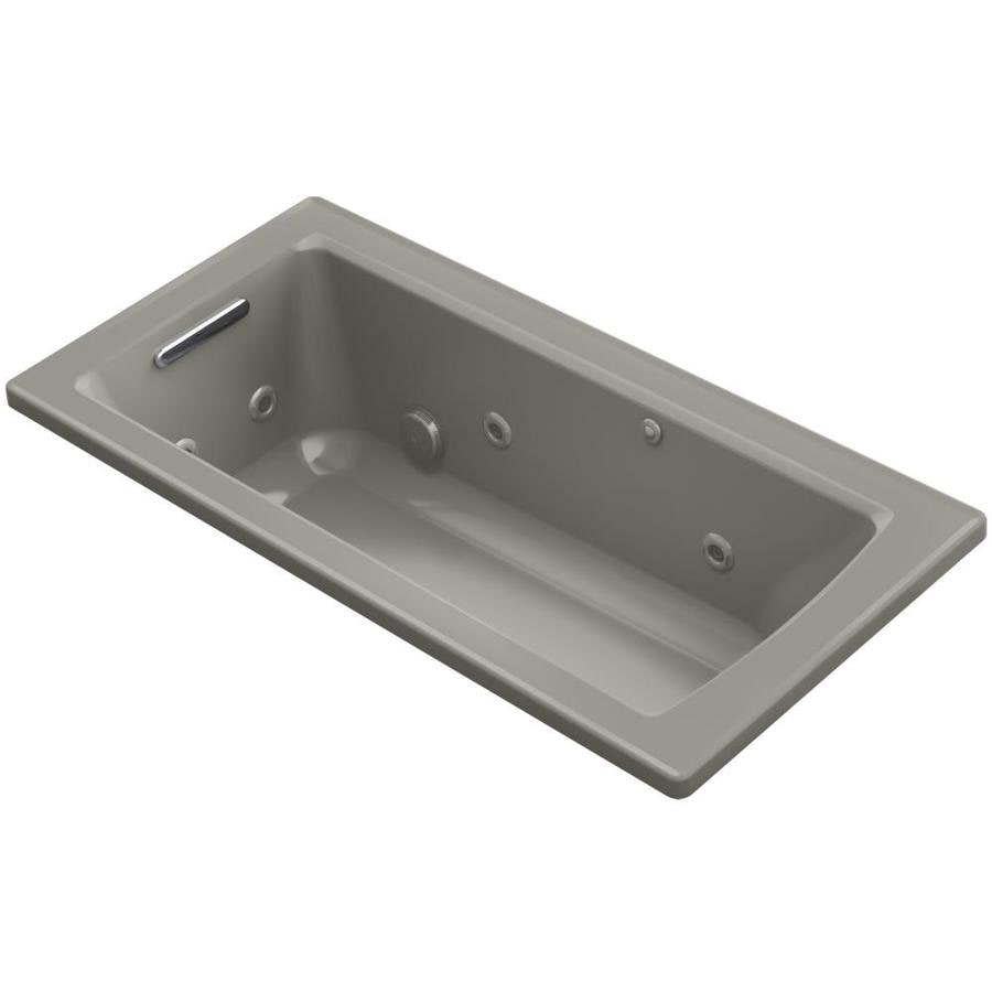 KOHLER Archer 60-in Cashmere Acrylic Drop-In Whirlpool Tub with Reversible Drain