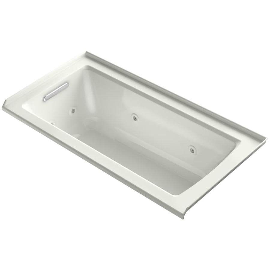 KOHLER Archer 60-in Dune Acrylic Alcove Whirlpool Tub with Left-Hand Drain