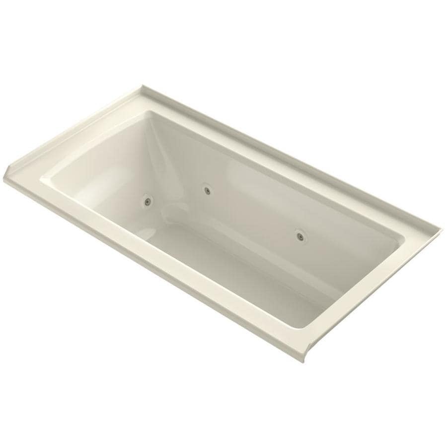 KOHLER Archer Almond Acrylic Rectangular Alcove Whirlpool Tub (Common: 30-in x 60-in; Actual: 19-in x 30-in)