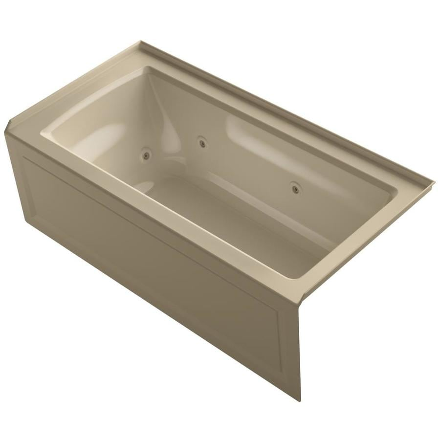 KOHLER Archer 60-in Mexican Sand Acrylic Alcove Whirlpool Tub with Right-Hand Drain