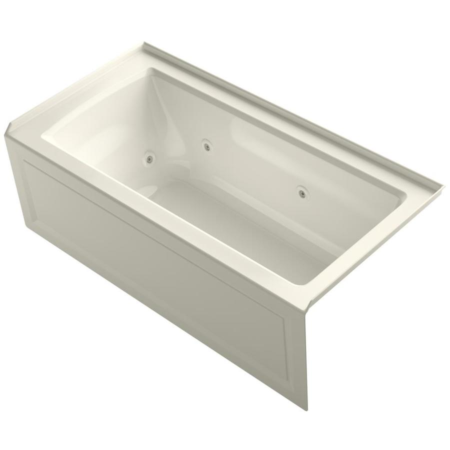 KOHLER Archer Biscuit Acrylic Rectangular Alcove Whirlpool Tub (Common: 30-in x 60-in; Actual: 19-in x 30-in)