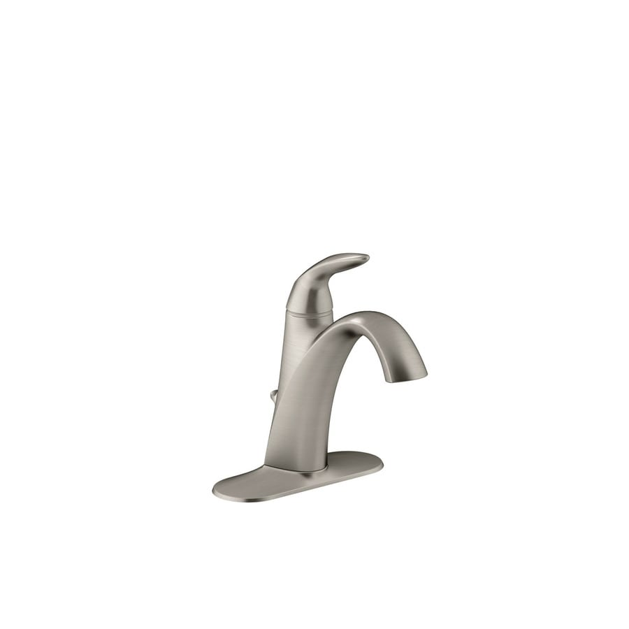 vibrant brushed nickel 1 handle single hole watersense bathroom faucet