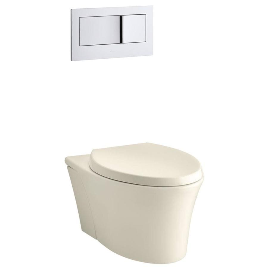 KOHLER Veil Almond 1.6; 0.8-GPF Wall-Hung WaterSense Elongated Dual-Flush Custom Height Rear Outlet Toilet