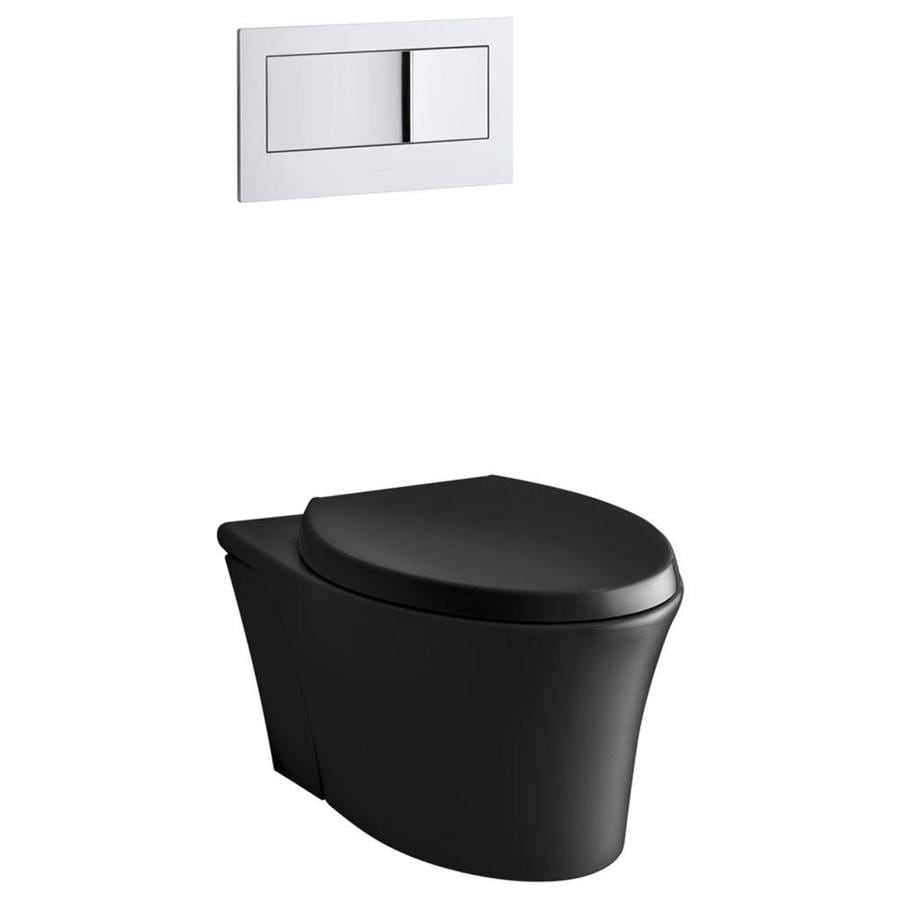 KOHLER Veil 0.8 Black Black WaterSense Dual-Flush Elongated Standard Height 1-Piece Toilet