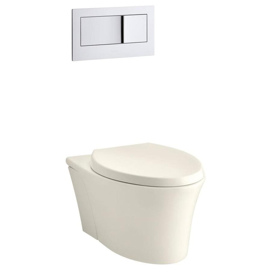 KOHLER Veil 0.8-GPF Biscuit WaterSense Dual-Flush Elongated Standard Height 1-Piece Toilet
