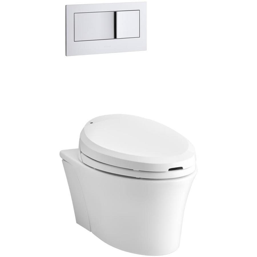 KOHLER Veil White 1.6; 0.8-GPF Wall-Hung WaterSense Elongated Dual-Flush Custom Height Rear Outlet Toilet