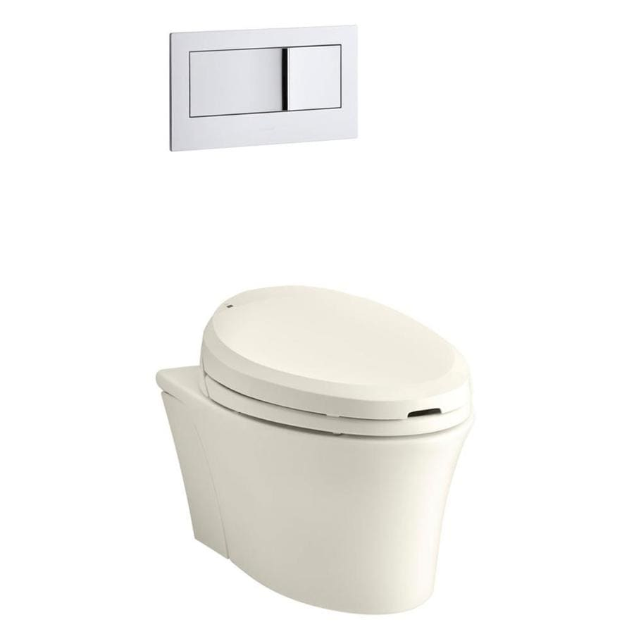 KOHLER Veil Biscuit 1.6; 0.8-GPF Wall-Hung WaterSense Elongated Dual-Flush Custom Height Rear Outlet Toilet