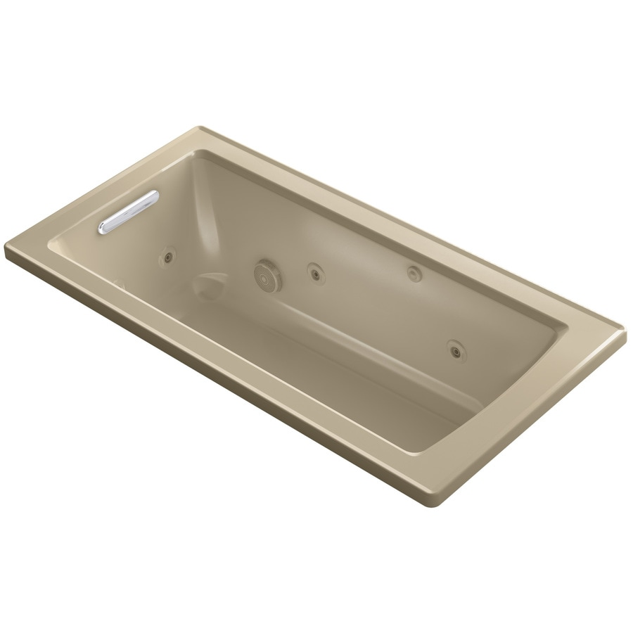 KOHLER Archer 60-in Mexican Sand Acrylic Drop-In Whirlpool Tub with Reversible Drain