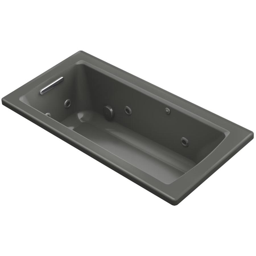 KOHLER Archer 60-in Thunder Grey Acrylic Drop-In Whirlpool Tub with Reversible Drain