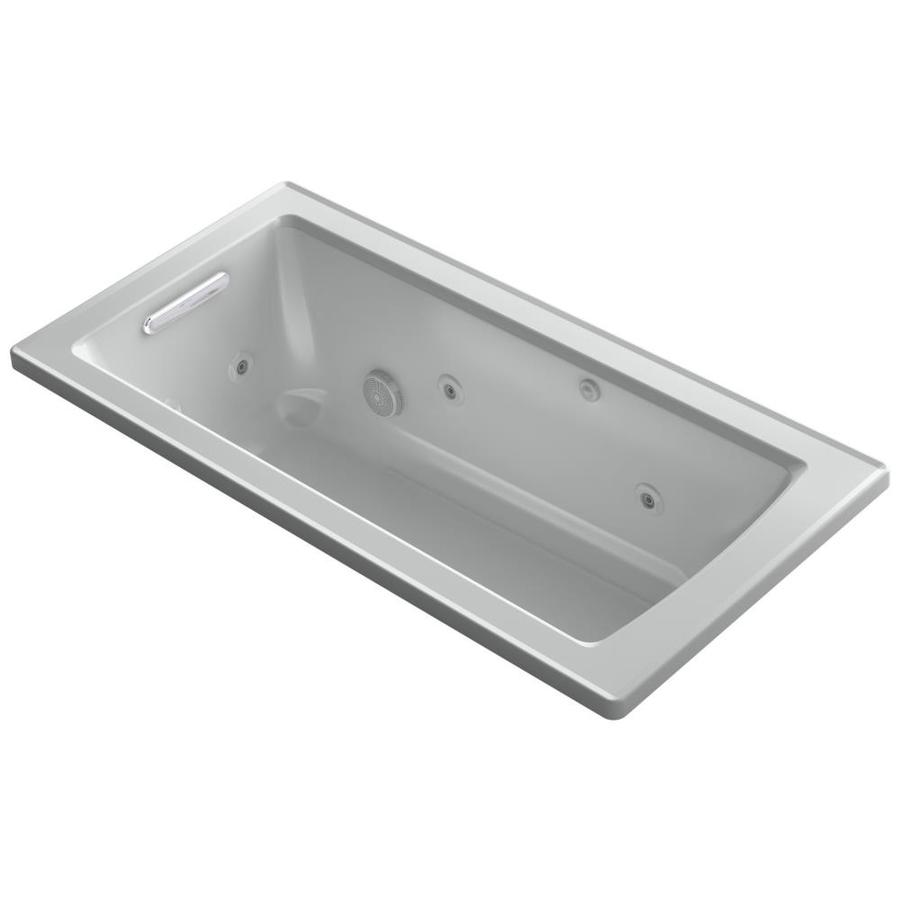 KOHLER Archer Ice Grey Acrylic Rectangular Whirlpool Tub (Common: 30-in x 60-in; Actual: 19.0000-in x 30.0000-in x 60.0000-in)