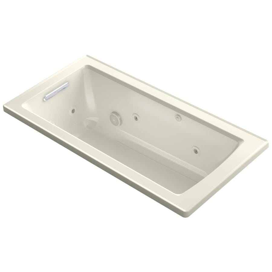 KOHLER Archer 60-in Biscuit Acrylic Drop-In Whirlpool Tub with Reversible Drain