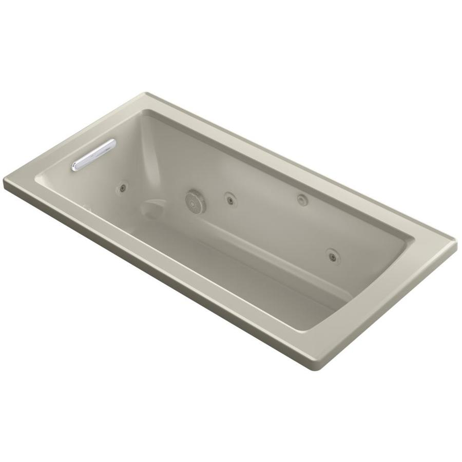 KOHLER Archer 60-in Sandbar Acrylic Drop-In Whirlpool Tub with Reversible Drain