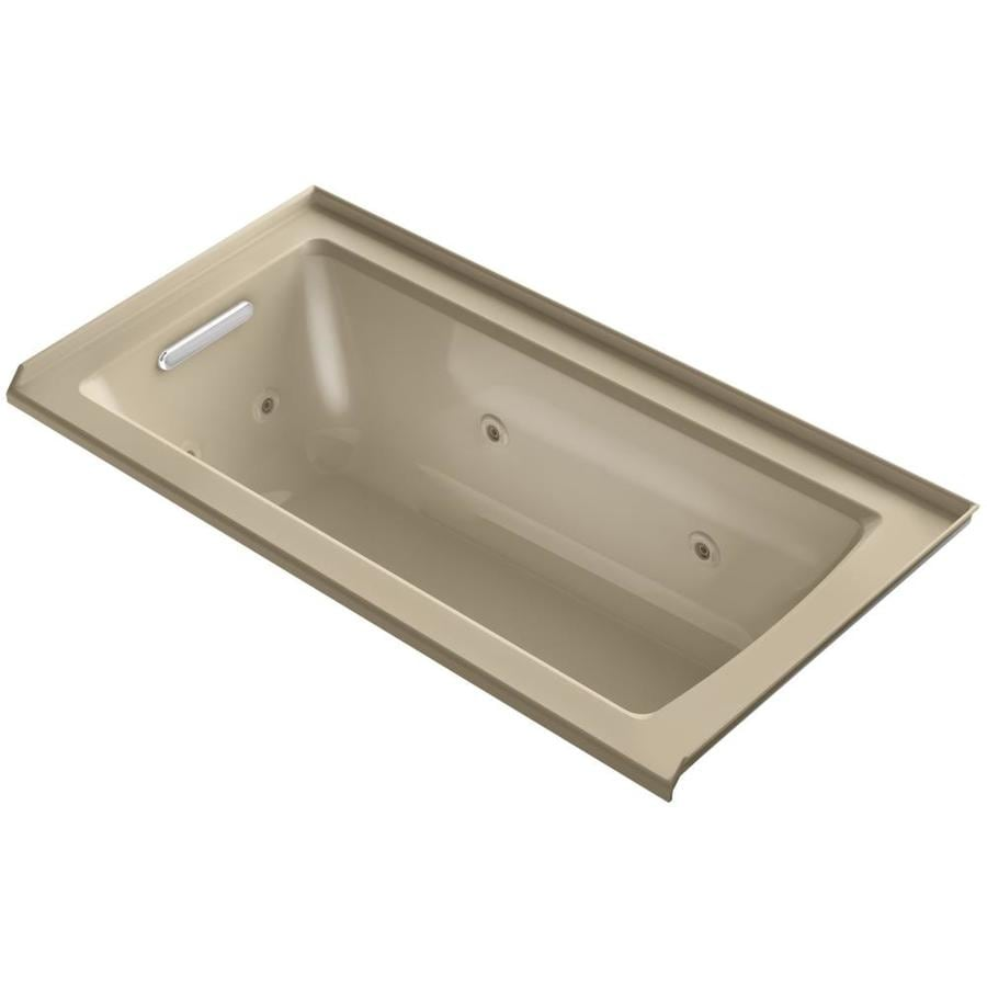 KOHLER Archer 60-in Mexican Sand Acrylic Alcove Whirlpool Tub with Left-Hand Drain