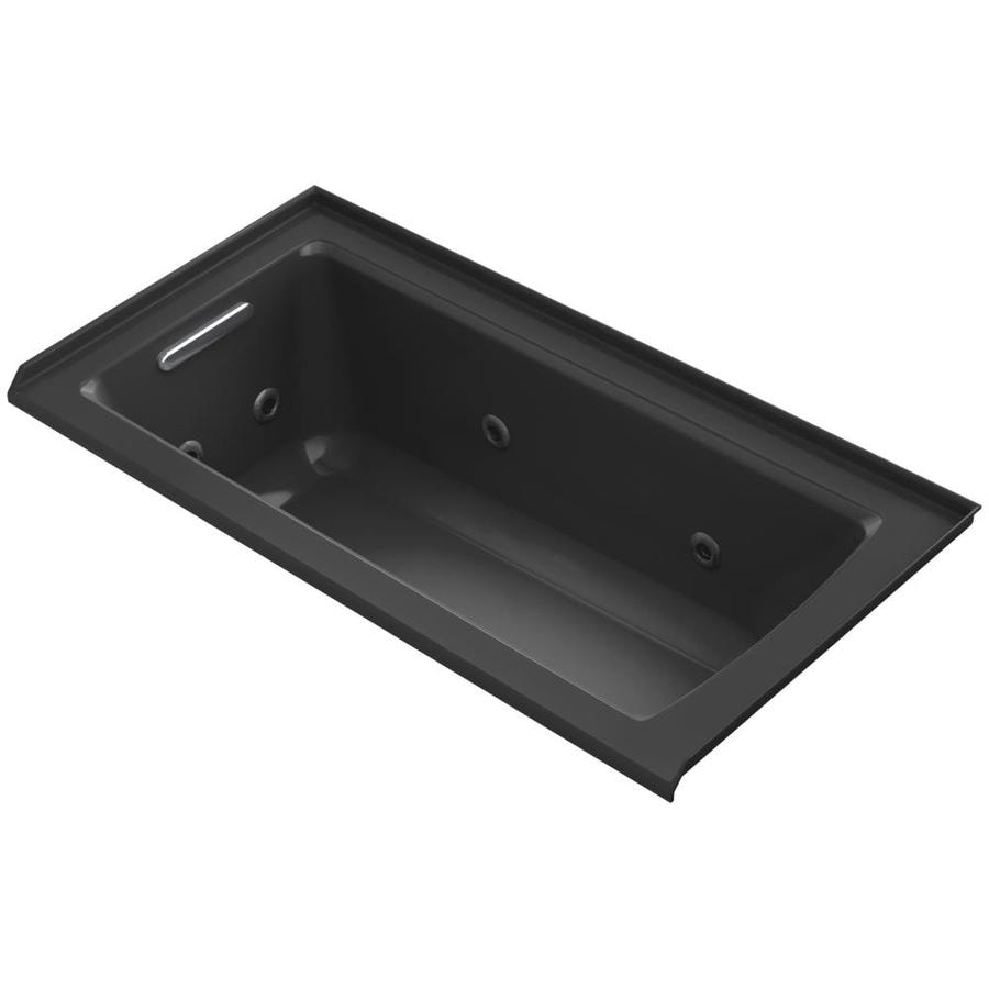 KOHLER Archer 60-in Black Acrylic Alcove Whirlpool Tub with Left-Hand Drain