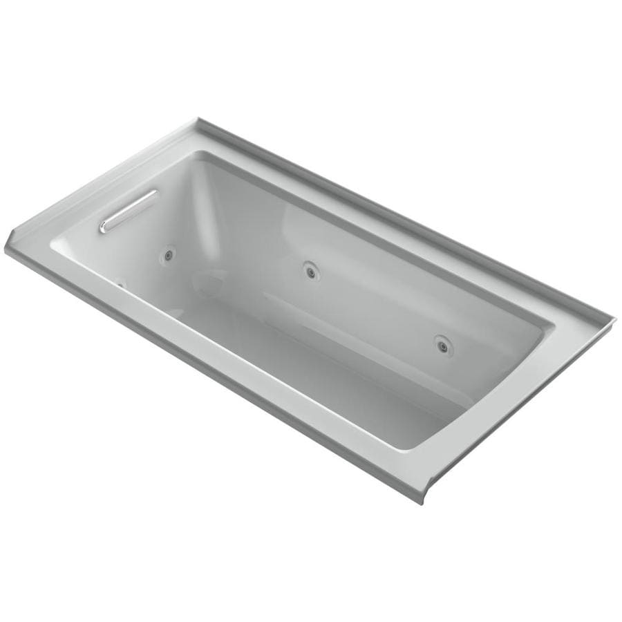 KOHLER Archer Ice Grey Acrylic Rectangular Whirlpool Tub (Common: 30-in x 60-in; Actual: 19-in x 30-in x 60-in)