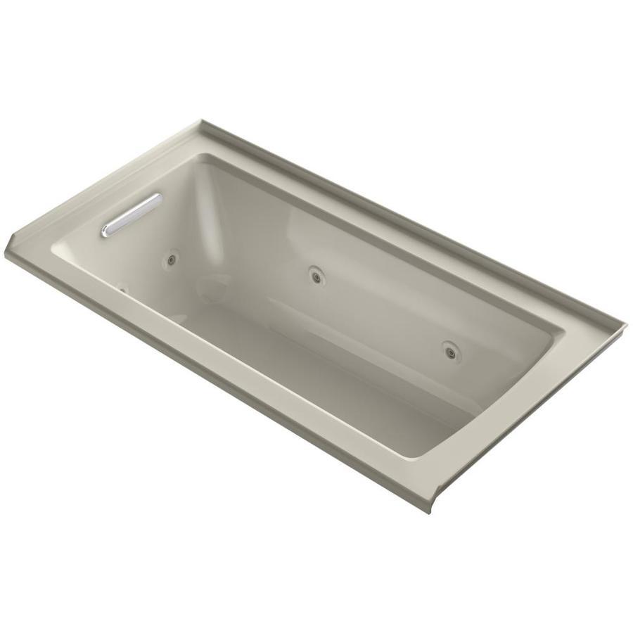 KOHLER Archer Sandbar Acrylic Rectangular Whirlpool Tub (Common: 30-in x 60-in; Actual: 19-in x 30-in x 60-in)