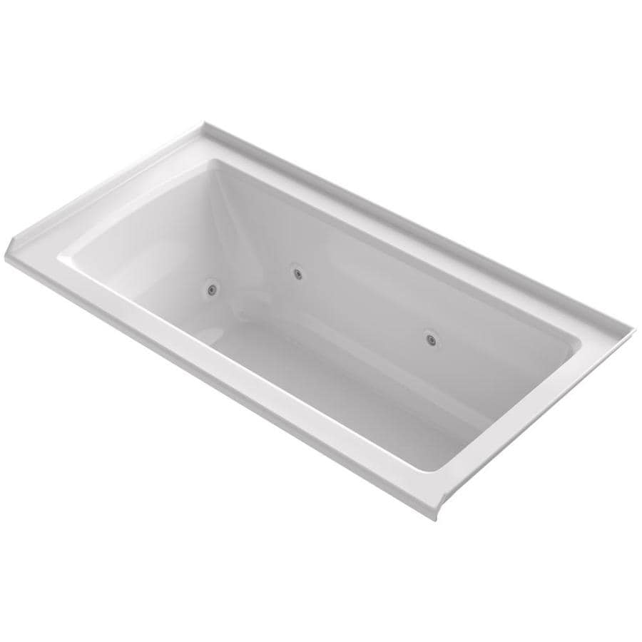 Shop KOHLER Archer 60-in White Acrylic Alcove Whirlpool Tub with ...